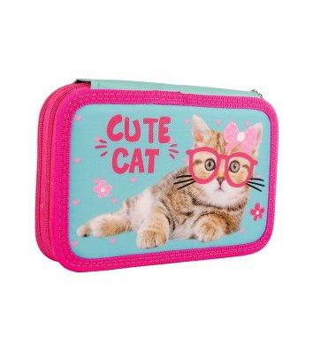 """Пенал твердий 2 відділення на блискавці """"Cute Cat"""", Smart"""