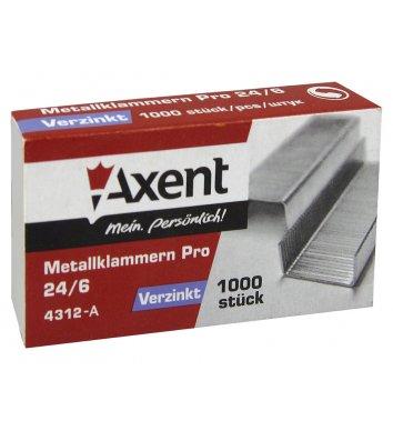 Скобы для степлера №24/6 1000шт, Axent