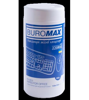 Серветки для оргтехніки, пластику, офісних меблів 100шт в круглій тубі, Buromax