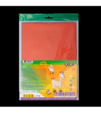 Папір кольоровий фетровий  А4 10арк 10 кольорів, Zibi