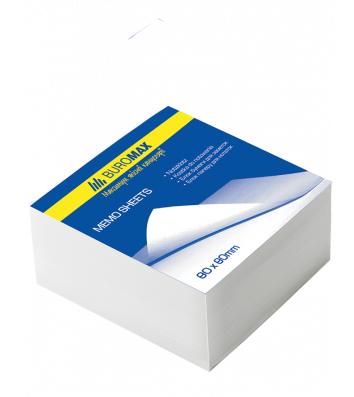 Папір для нотаток 80*80мм 500арк білий непроклеєний, Buromax