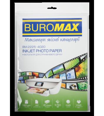 Фотопапір матовий A4 180г/м2  20арк, Buromax
