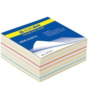 Бумага для заметок 90*90мм 400л цветная непроклеенная, Buromax