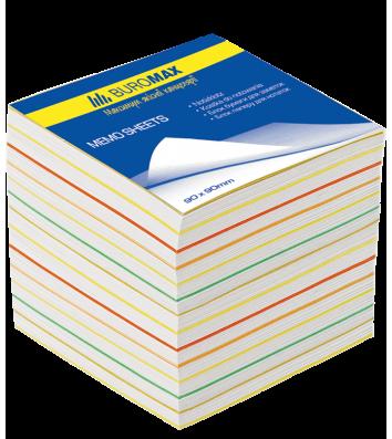 Папір для нотаток 90*90мм 700арк кольоровий непроклеєний, Buromax