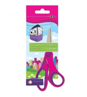 Ножиці дитячі 12,6см ручки пластикові рожеві, Zibi