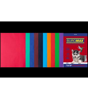 Набор бумаги А4 80г/м2 50л цветной 10 цветов темный/интенсивный, Buromax
