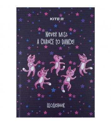 """Дневник школьный А5 48л твердая обложка """"Dancing cats"""", Kite"""