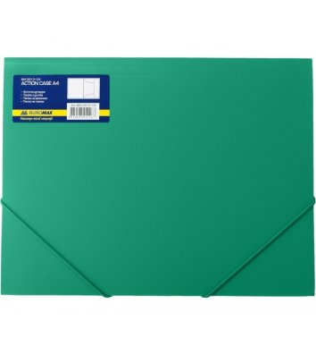 Папка А4 пластикова  на гумках зелена, Buromax