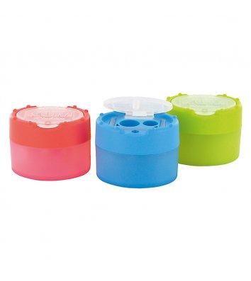Чинка пластикова 2 леза з контейнером асорті, Kum