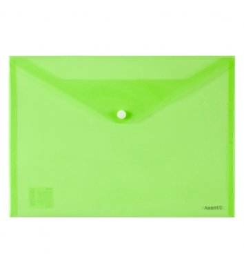 Папка-конверт А4 на кнопке пластиковая зеленая, Axent