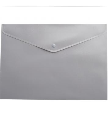 Папка-конверт А4 на кнопці пластикова непрозора сіра, Buromax