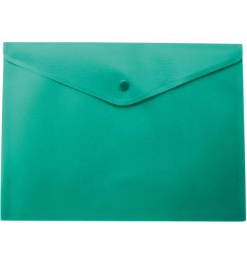 Папка-конверт А4 на кнопці пластикова непрозора зелена, Buromax