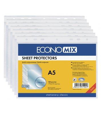 Файли А5 30мкм 100шт глянцеві, Economix