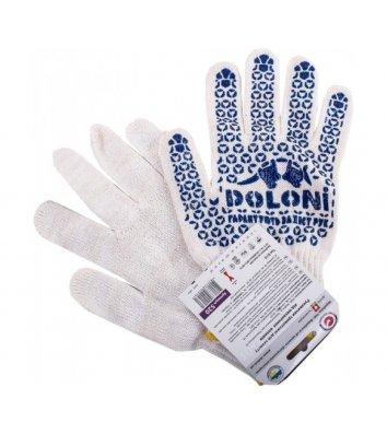 Перчатки хлопчатобумажные с ПВХ точкой белые