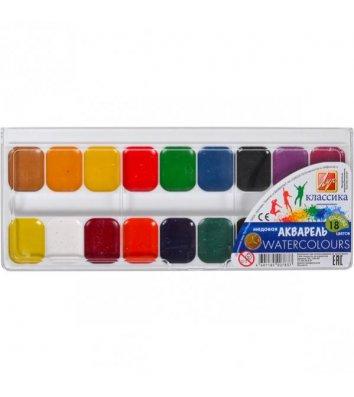 Акварель 18 кольорів  медова без пензлика, Луч