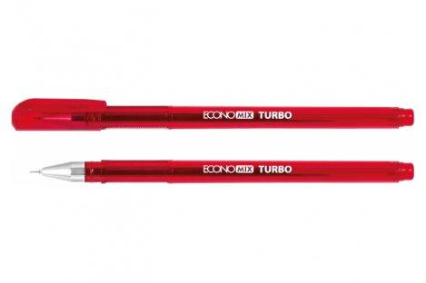Ручка гелева Turbo, колір чорнил червоний 0,5мм, Economix
