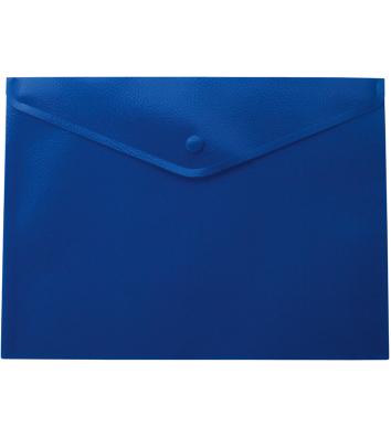Папка-конверт А4 на кнопці пластикова непрозора синя, Buromax