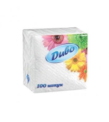 Салфетки бумажные однослойные 100шт 24*24см белые, Диво
