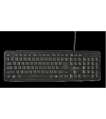 Клавиатура компьютерная проводная черная, Trust Ziva Keyboard RU