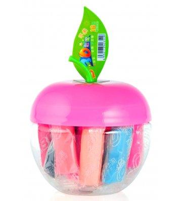"""Тісто для ліплення 10 кольорів 130г в пластиковій коробці """"Яблуко"""", Tiki"""