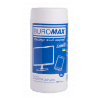 Серветки вологі для очищення екранів 100шт в тубі, Buromax