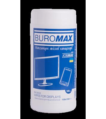 Серветки вологі для очищення екранів 80шт в тубі,  Buromax