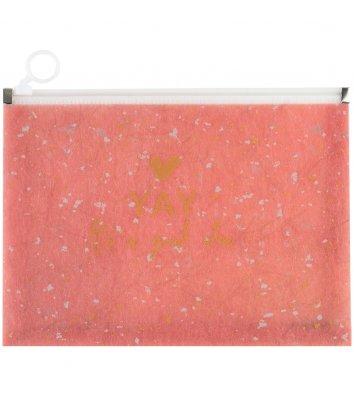 Папка-конверт А4 на блискавці пластикова Shade Coral коралова, Axent