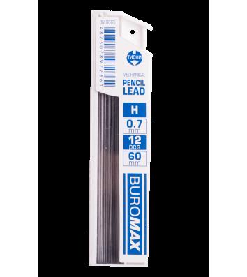 Стрижні до механічного олівця H 0,7мм 12шт, Buromax