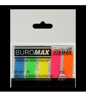 Стикеры-закладки пластиковые 12*45мм 100л 5 неоновых цветов ассорти, Buromax