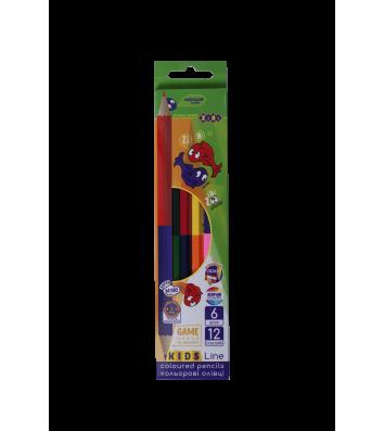 Карандаши цветные 6шт 12 цветов двусторонние Double, Zibi