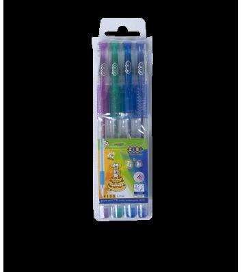 Набір гелевих ручок 4 кольори з глітером 0,7мм, Zibi