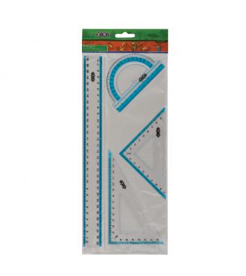 Набір лінійок - лінійка 30см, два косинця, транспортир пластикові прозорі, Zibi