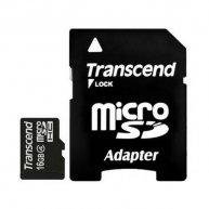Карта памяти 16GB Transcend microSDHC Class 4 с адаптером