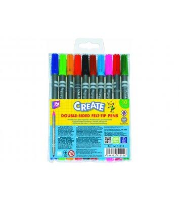 """Фломастери 10 кольорів двосторонні  """"Create"""", Cool for School"""