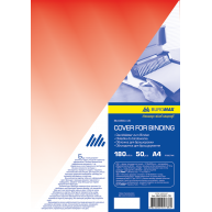 Обложка для переплета А4 180мкм 50шт пластиковая прозрачная красная, Buromax
