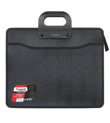 Портфель B4 пластиковый на молнии 3 отделения черный, Axent