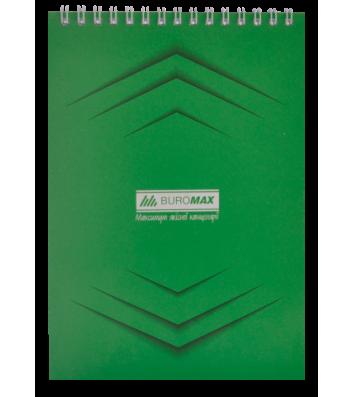 Блокнот А5 48арк клітинка Monochrome, верхня спіраль зелений, Buromax