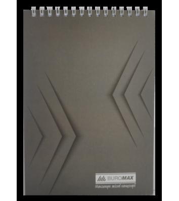 Блокнот А5 48арк клітинка Monochrome, верхня спіраль сірий, Buromax
