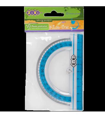 Транспортир 10см пластиковий блакитний, Zibi