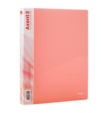Папка А4 пластиковая на 2 кольца 25мм прозрачная розовая, Axent