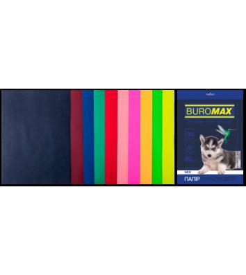 Набор бумаги А4 80г/м2 50л цветная 10 цветов темный/неоновый, Buromax