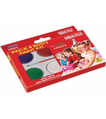 Краски для лица 6 цветов, Maxi