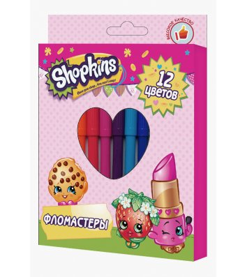 """Фломастери 12 кольорів """"Shopkins"""", Перо"""