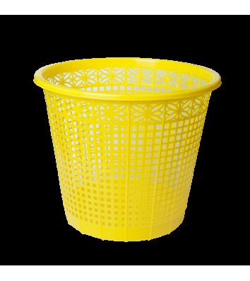 Корзина для сміття пластикова жовта 8л, Zibi