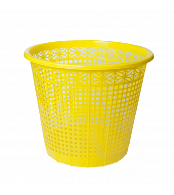 Корзина для мусора пластиковая желтая 8л, Zibi