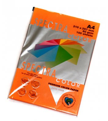 Бумага А4 80г/м2 100л цветная Spectra Color, неоновая оранжевая