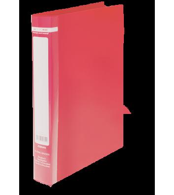 Папка А4 пластикова на 2 кільця 25мм червона Jobmax, Buromax