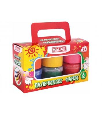 Фарби пальчикові 6 кольорів 60мл, Maxi