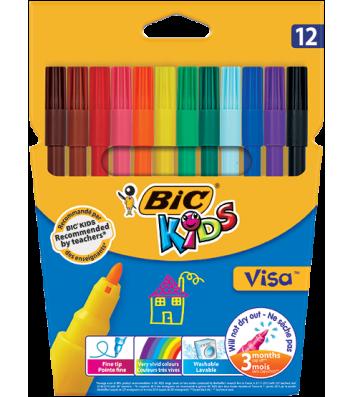 """Фломастери 12 кольорів """"Visa"""", Bic"""