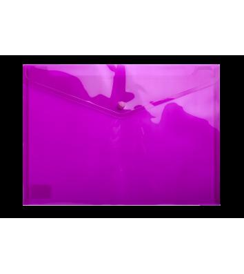Папка-конверт А4 на кнопці пластикова прозора фіолетова, Buromax